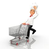 3D chef shopping Royalty Free Stock Photos