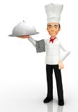 3D Chef with a tray Stock Photo