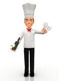 3D Chef with wine Royalty Free Stock Photo