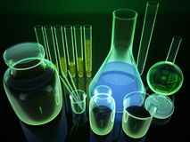 3d chemical flasks. 3d chemical glass flasks laboratory stock illustration