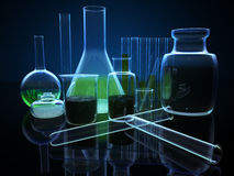3d chemical flasks Stock Photo