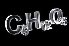 3d chemistry formulas in glass of hexose Stock Image