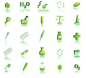 3d chemistry icon. Illustration of 3d chemistry icon, green Stock Photo
