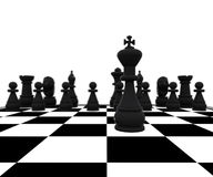 3d Chess - king in battle. 3D illustration with chess, king, queen, rook, horses and pawns Stock Photos