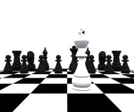 3d Chess - king in battle. 3D illustration with chess, king, queen, rook, horses and pawns Stock Photo