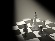 3d chess king, surrounded with four pawns Stock Photography