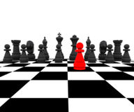 3d Chess - Pawn Red. 3D illustration with chess, king, queen, rook, horses and pawns Stock Photography