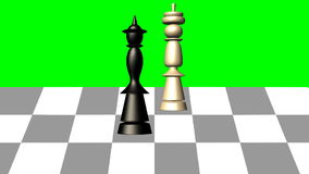 Free 3d Chess Scene, Black Queen Gives The Mat To The White King, Animation On Green Screen Royalty Free Stock Photo - 94447445