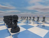 3d chess strategy abstract illustration Stock Photos
