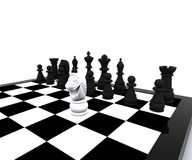 3d Chess - white Horse in attack. 3D illustration with chess, king, queen, rook, horses and pawns Royalty Free Stock Photos