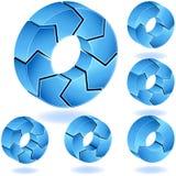 3D Chevron Blues Diagram. Set of 3D blue process charts Stock Photos