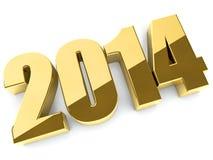 3D chiffres d'or de 2014 ans Photos stock