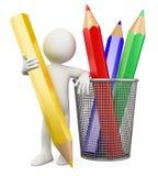 3D child - Color pencils Stock Photos