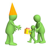 3d child,  congratulating the daddy with a holiday Stock Photography