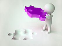 3D Child with Violet Jigsaw Puzzle Stock Photography