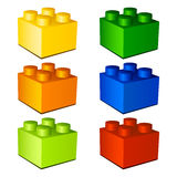 3d children plastic bricks toy Royalty Free Stock Photo