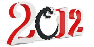 3d Chinese New Year of the Dragon 2012. Stylized inscription Stock Photo