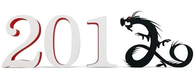 3d Chinese New Year of the Dragon 2012. Stylized inscription Stock Photography