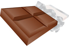 3D Chocolate Candy Bar. Realistic 3D chocolate candy bar wrapped in foil and paper wrapper Stock Image