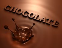3D chocolate splash and inscription Royalty Free Stock Image