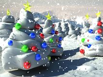3D Christmas Background. A 3D illustrated background for Christmas with a winter scene of a Christmas trees forest decorated with colorful balls and a star at Stock Photo
