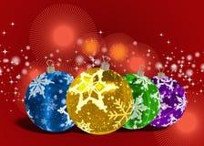 3D Christmas Balls background. Christmas Balls background, illustration of Christmas Card Stock Photo