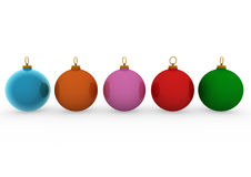 3d christmas balls blue orange pink red green. Isolated on white background Royalty Free Stock Image