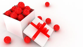 3d christmas balls in box Royalty Free Stock Photography