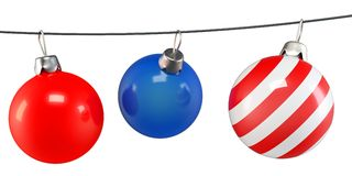 3d Christmas balls on a string Stock Photo