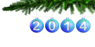 3d Christmas blue balls on the Christmas tree for  Royalty Free Stock Images