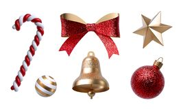 Free 3d Christmas Clip Art. Design Elements, Isolated On White Background. Golden Bell, Paper Bow, Red Ribbon, Candy Cane, Ornaments Stock Image - 163486081