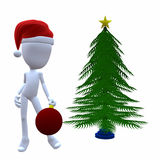 3D Christmas Guy With A Christmas Tree Royalty Free Stock Photography