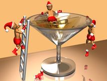 3D Christmas kids celebrating. 3D image of a little christmas kids in costumes playing around the wine glass over orange background Royalty Free Stock Images