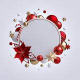 3d Christmas Round Wreath With Red Poinsettia Flower Isolated On White Background. Blank Frame, Golden Xmas Ornaments, Glass Balls Royalty Free Stock Images