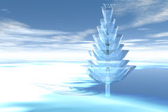 3D Christmas Tree. A 3D Christmas Tree with 2010 in a snowy landscape Royalty Free Stock Photos