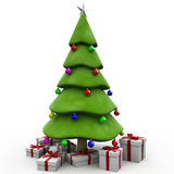 3D Christmas tree. With gifts in the botton Stock Images