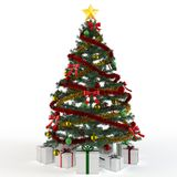 3d Christmas tree with gift boxes Royalty Free Stock Photography