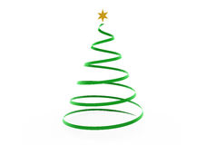 3d christmas tree green gold star. Isolated on white background Royalty Free Stock Photos