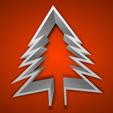 3D Christmas tree on red background. Royalty Free Stock Images