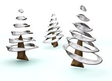 3D Christmas trees Royalty Free Stock Photos