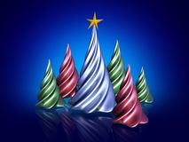 3D christmas trees. 3D rendered abstract christmas trees on blue backdrop Royalty Free Stock Images