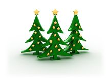 3d christmas trees Royalty Free Stock Photo
