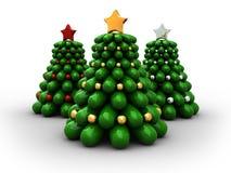3d christmas trees. 3d illustration of three christmas trees on white vector illustration