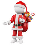 3D Christmas white people. Santa Claus pointing Stock Photo
