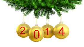 3d Christmas yellow balls on the Christmas tree fo Royalty Free Stock Photos