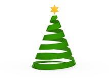3d chritmas tree star green. Gold xmas abstract Stock Illustration