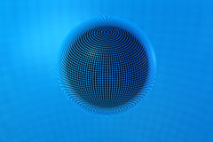 3D Chrome Ball in Blue Lines Royalty Free Stock Image
