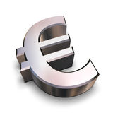 3D chrome Euro symbol. A chrome-plated Euro symbol isolated on a white background (3D rendering stock illustration