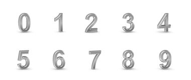 3D chrome numbers set.  Stock Images