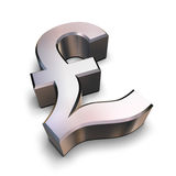 3D chrome Pound symbol. A chrome-plated Sterling Pound symbol isolated on a white background (3D rendering stock illustration